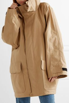 Beige cotton-blend ripstop Concealed Velcro® and two-way zip fastening through front 98% cotton, 2% elastane; lining: 100% cupro Dry clean Designer color: Beige Praline