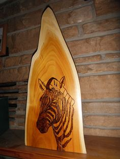 Zebra wood burned onto hedge slab.  To see this great piece and others please visit www.facebook.com/philswildwoodcreations