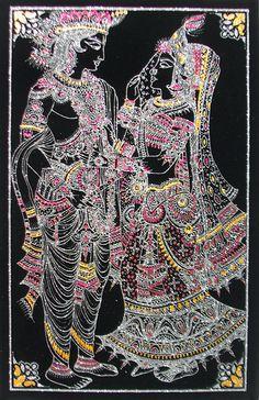 Radha Krishna - (Silver and Golden Glitter Painting) (Painting on Velvet Cloth - Unframed)