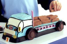 Big blue truck cake http://www.taste.com.au/recipes/7794/big+blue+truck+cake #cakes #birthdaycakes #kidscakes