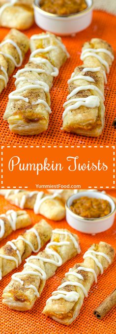 Pumpkin Twists - if you want to make something easy, quick and delicious you are on the right way! These delicious fall treats only take few minutes to make! Perfect combination of Pumpkin and Cinnamon and perfect fall dessert - Pumpkin Twists!