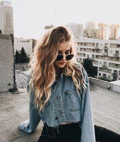 Glowing in the sun in jean jacket