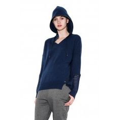 Cori hooded pullover - deep sea by one grey day - leather trim hoodie with split hem detail and perforated sleeves