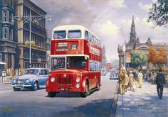 """Leyland by Mike Jeffries - A Leyland of Edinburgh pulls away from a bus stop on the famous Golden Mile while a Rover """"Cylops"""" saloon races pass. Transport Pictures, Bus Art, Vintage Illustration Art, Bus Coach, Car Posters, Cartoon Art Styles, Trucks, Black Letter, English Countryside"""