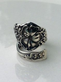 Vintage Hibiscus Flower Sterling Silver Spoon Ring on Etsy, $72.00
