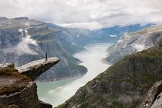 Trolltunga is one of the most spectactular scenic cliffs in Norway. Trolltunga  is situated about 1100 meters above sea level, hovering 700 metres above lake Ringedalsvatnet in Skjeggedal. The view is breathtaking.