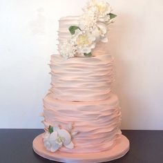 Pink ombre ruffle wedding cake by A. Elizabeth Cakes