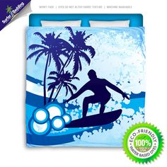 Surf's Up Eco Friendly & Made in USA Surfer Bedding Beach Comforter