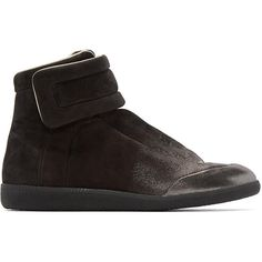 Maison Margiela Black Gradient Future High-Top Sneakers ($635) ❤ liked on Polyvore featuring men's fashion, men's shoes, men's sneakers, mens velcro strap shoes, mens high top shoes, mens high top sneakers, mens lace up shoes and mens monk strap shoes