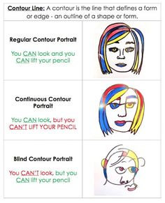 Contour Line Art Lesson Self Portraits 51 Ideas Art Education Lessons, Art Lessons Elementary, Line Art Lesson, Blind Contour Drawing, Contour Drawings, Drawing Skills, Drawing Art, Drawing Lessons For Kids, Drawing Tips