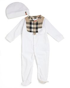 Kate Middleton Baby Shower Gift Ideas from InStyle Editors - Burberry Infants Two-Piece Check Trim Footie and Hat Set