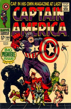 Captain America 100 was virtually Captain America for the Marvel age, complete with a nifty Jack Kirby cover showing Cap leading his pals (the Avengers, Black Panther, Sharon Carter, Namor) to victory. Marvel Comics, Marvel Comic Books, Comic Book Characters, Comic Books Art, Comic Superheroes, Thor Marvel, Star Comics, Marvel Art, Marvel Characters