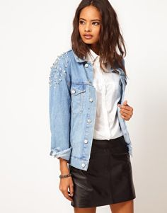 LOVE THIS STUDDED JACKET...ANY CHANCE OF A SALE ASOS? Denim Jacket in Boyfriend Fit with Studs