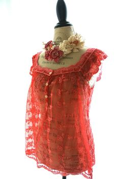 Romantic lace shirt shabby strawberry red by TrueRebelClothing, $48.00