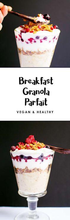 Breakfast granola parfait - layers of oatmeal, granola, berries and yogurt. An easy, healthy vegan breakfast idea!