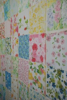 Vintage Sheets Quilt - great idea to pin up squares before starting your quilt.