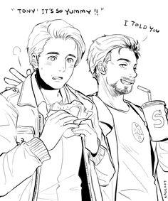 disubiquity: kadeart: Tony teach Steve to eat Cheeseburger how do you TEACH someone to eat a CHEESEBURGER cheeseburger first!