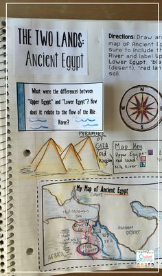 This interactive notebook activity is great and super fun for comparing and contrasting the Egyptian regions. Explain the relationship between religion and the social and political systems in Mesopotamia and Egypt. 7th Grade Social Studies, Social Studies Notebook, Social Studies Classroom, Social Studies Activities, History Classroom, Teaching Social Studies, Teaching History, Social Studies Projects, History Education