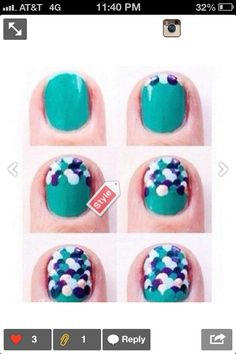 Very simple, with a doting tool, use dots and play with colors to make fish like gills on nails