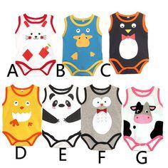 夏款欧美外贸卡通无袖奶牛熊猫印花三角哈衣 连体衣 婴儿童爬服薄