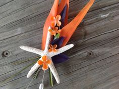 Bird of Paradise Boutonnière with Starfish by VictoriaGreenFlowers, $15.00