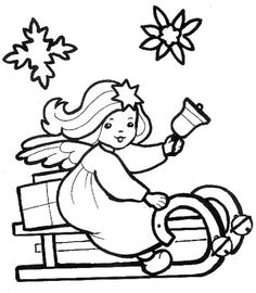Dibujos y Plantillas para imprimir: Angelitos Navidad
