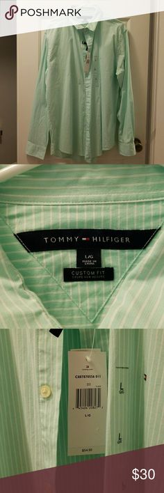 Tommy Hilfiger Mens Button Down Dress Shirt Tommy Hilfiger New With Tags Green and White Stripped Mens Fitted Button Down Dress Shirt Tommy Hilfiger Shirts Dress Shirts