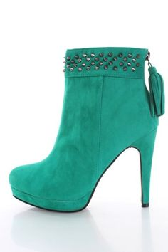 Fall Booties Collection    Sea Green Faux Suede Spike Studded Tassel Ankle Booties – SHOES  - #Booties https://talkfashion.net/shoes/booties/fall-booties-collection-sea-green-faux-suede-spike-studded-tassel-ankle-booties-shoes/