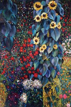 Gustav Klimt Farm Garden with Sunflowers.  One of overstockArt's most popular paintings for 2017, placing 10th. Hand painted reproductions are available in a variety of sizes at overstockArt.com. #art