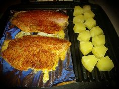 Grilled tilapia and pineapple! Quick and easy meal, especially using my George Foreman. I placed foil under the filets to prevent them from sticking/overcooking. Pat dry with paper towel. Season with salt, pepper, taco seasoning, paprika, oregano and basil. Place over two teaspoons of butter and grill for 15 minutes, + or - depending on heat. Enclose lid to achieve grill lines before finished  #Chefmode #Instacooking