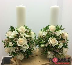 White Wedding Bouquets, Wedding Flowers, Wedding Decorations, Table Decorations, Holiday Decorations, Pillar Candles, Wax, Green, Floral Motif