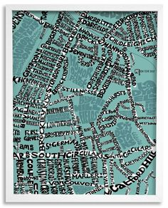 d9c446759580 This hand lettered typographic map shows all roads around the park -