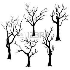 animaux de la forêt: Silhouettes d'arbres