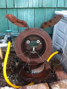 Brake Rotor Bunny. One of the originals. The stainless whiskers stay shiny over the years. One of my wife's favorites.