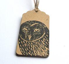 Linocut Hand Printed Owl Bird Gift Tags by HandmadeandHeritage, £1.50