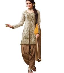 Buy Grey and brown cambric cotton embroidered semi stitiched salwar with dupatta party-wear-salwar-kameez online