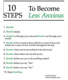 10 steps to becoming less anxious #mentalhealth