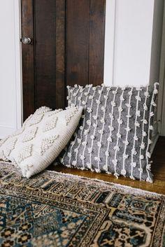 boho pillows and persian rug
