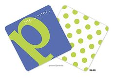 picme!prints | Personalized Coasters | Alphabet Chartreuse on Cobalt Personalized Coaster (PicMe) | The PrintsWell Store