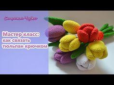 (crochet) How To Crochet Tulips with Leaves - Yarn Scrap Friday Crochet Art, Crochet Bunny, Crochet Crafts, Crochet Jewelry Patterns, Crochet Designs, Crochet Flower Tutorial, Crochet Flowers, Reusable Things, Crochet Videos