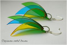 Country over the rainbow: Earrings with leaf plastic bottles - Plastic Bottle Earrings
