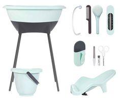 Luma Baby Care L10310Juego de cuidado de baño–Bañera de pie, asiento de baño, cubo para pañales, termómetro, peine y cepillo, Set de manicura, Bañera Tubo de desagüe