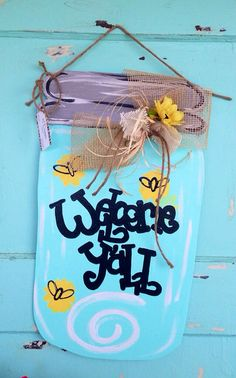 Summer mason jar door hanger