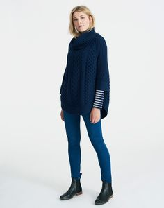 Capability French Navy Poncho | Joules US