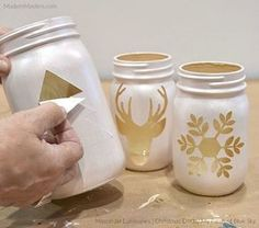 DIY Christmas luminaries with mason jars and modern masters Metallic Pain . - CarolaDIY Christmas Luminaries with Mason Jars and Modern Masters Metallic Pain . - DIY Mason Jars Master Metallic With Home Decor, Mason Jar Christmas Crafts, Christmas Centerpieces, Mason Jar Crafts, Diy Christmas Gifts, Holiday Crafts, Centerpiece Ideas, Christmas Lights, Diys With Mason Jars, Crafts With Jars