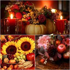décoration de table d'automne avec tournesols citrouilles grenades et bougies