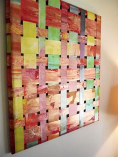 Art Upcycled Billboard Vinyl weaving orange by ASharpContrast Recycling Ideas, Vinyl Banners, Wedding Frames, Bold Colors, Billboard, Office Decor, Wedding Gifts, Upcycle, Weaving