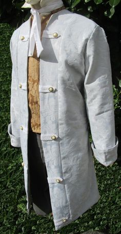 Mens Frock Coat Soft Silver -Colonial,Pirate,Classic-Louis XIV-Mozart 48""