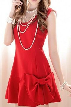 Bow Slim Sleeveless Dress