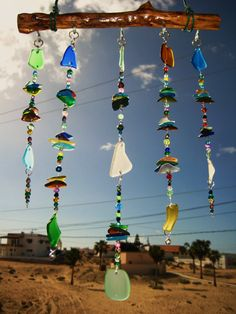 Stacked Beach Glass Windchime / Mobile by mexicobeachgirl on Etsy, $65.00